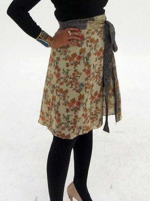 Reversible Silk Mid Length Wrap & Earrings OP24