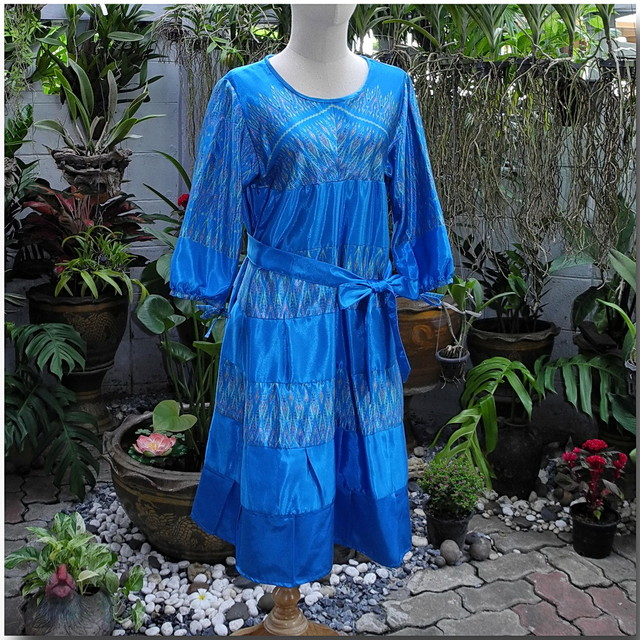 Handmade Authentic Thai Style Silk Blue Dress, Thai Style