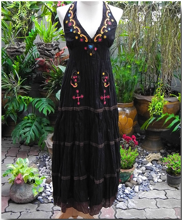 Black Hippie Gypsy , Dress, Sleek With Multicolor Embroidery