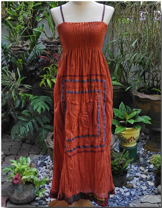 Medium Brown Boho Gypsy Style Cotton Dress,Knitted Butterfly