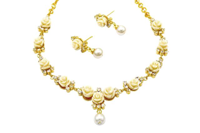 Alankar's carved white coral roses necklace set