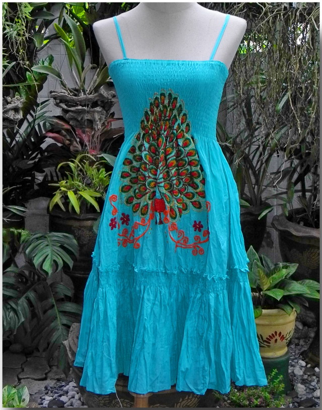 Turquoise Blue Hippie Gypsy Style Cotton Dress, Peacock