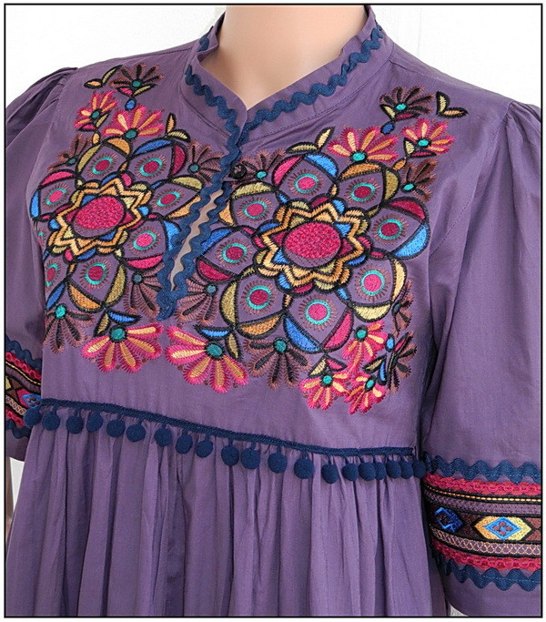 Purple Floral Dress, Lavish Embroidery, Kaftan, Boho,Cotton