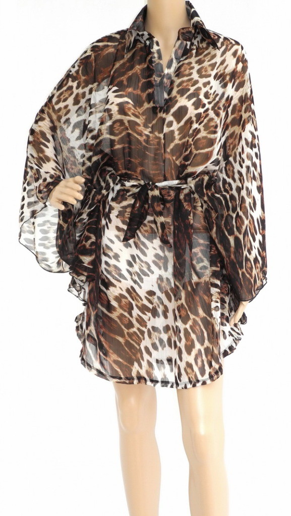 Tiger Print Chiffon Dress, BRN Translucent Soft & Sensual