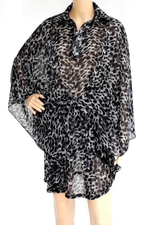 Tiger Print Chiffon Dress, Translucent Soft, LARGE FREE SZ