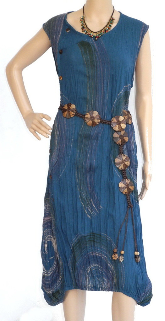 Sexy Boho Hippie Cotton Dress Swirling Blue, M- Plus Size