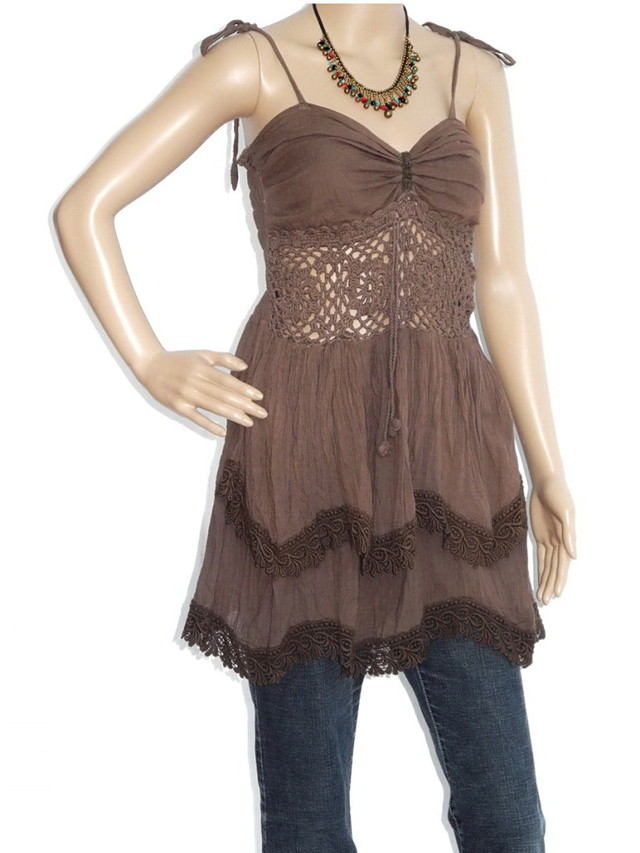 Short Hippie Boho Cotton Haltertop Dress, Brown With Fringe,