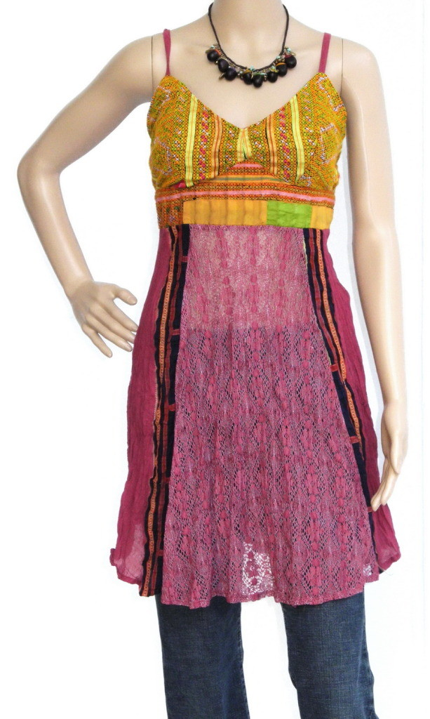 Mini Hippie Boho Cotton Haltertop Dress, Maroon, Patchwork,