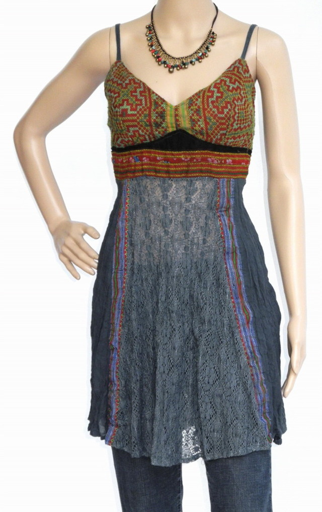 Mini Hippie Boho Cotton Haltertop Dress, Blues, Patchwork