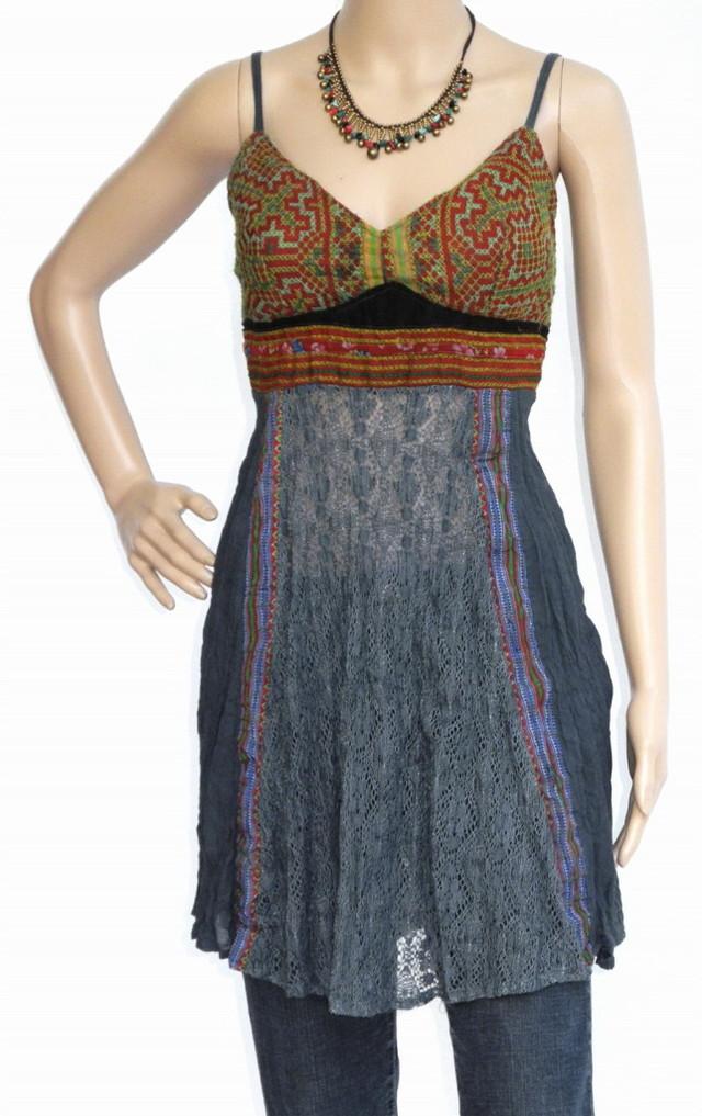 Mini Hippie Boho Cotton Haltertop Dress, Blues, Patchwork