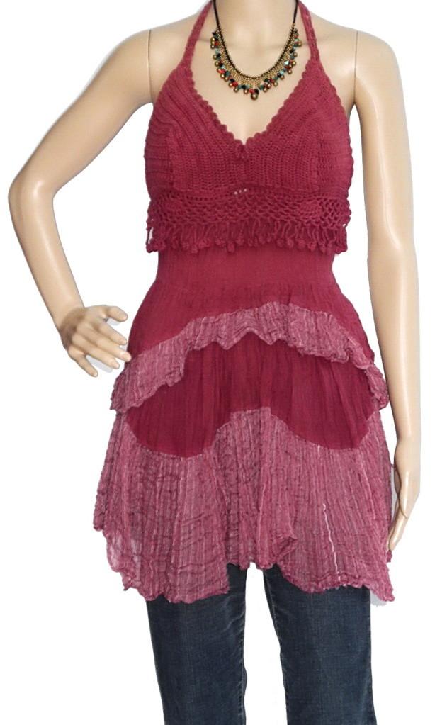 Mini Hippie Boho Cotton Haltertop Dress, Maroon Hand Crochet