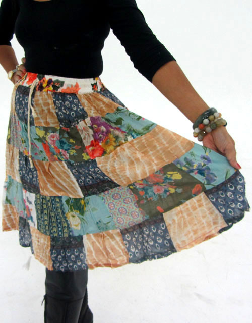 Patchwork Cotton Mid Length Skirt & Earrings OP 26