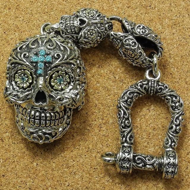 Sugar Skull Pillbox Keychain #3, Día de los Muertos, Brass