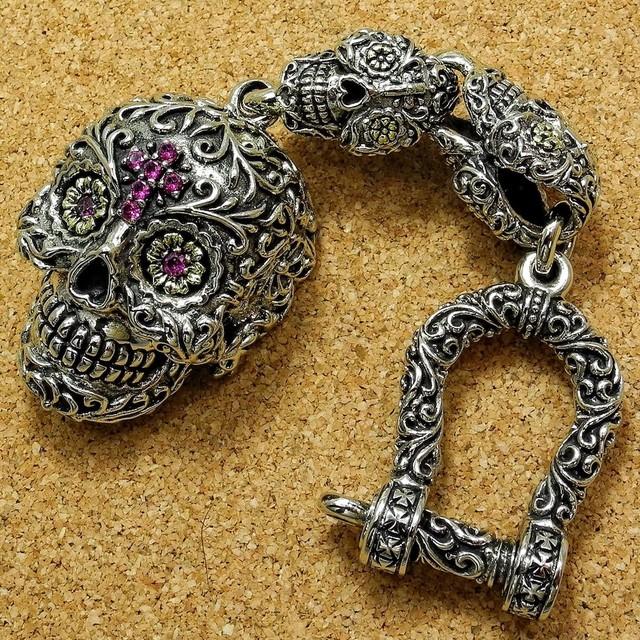 Sugar Skull Pillbox Keychain #2, Día de los Muertos, Brass