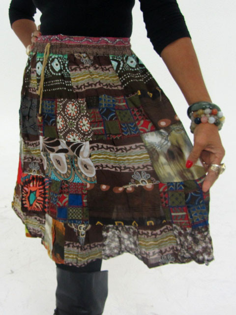 Patchwork Cotton Mid Length Skirt & Earrings OP 27