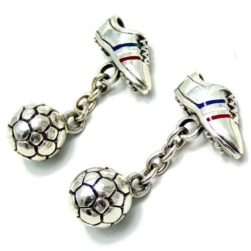 Soccer Shoe & Ball Sterling Silver Cufflinks 25g