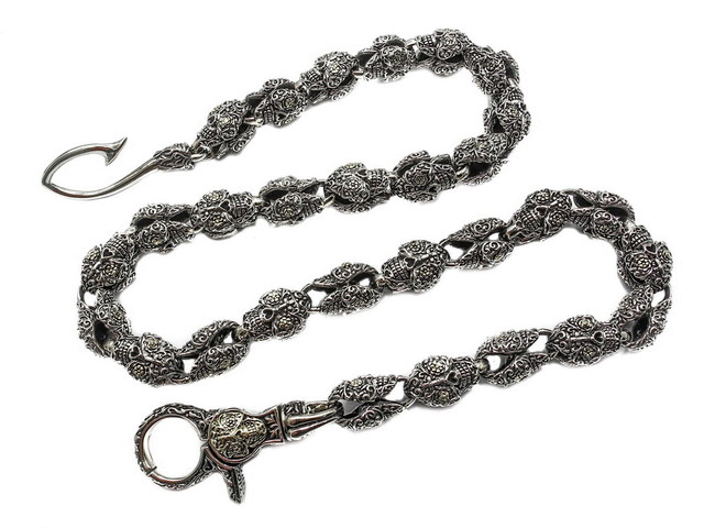 Men's Sugar Skull Rosary Wallet Chain, Silver Brass , 27""