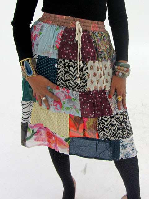 Patchwork Cotton Mid Length Skirt  OP 28