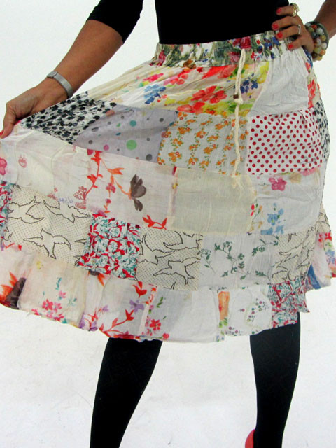 Patchwork Cotton Mid Length Skirt & Earrings OP 30