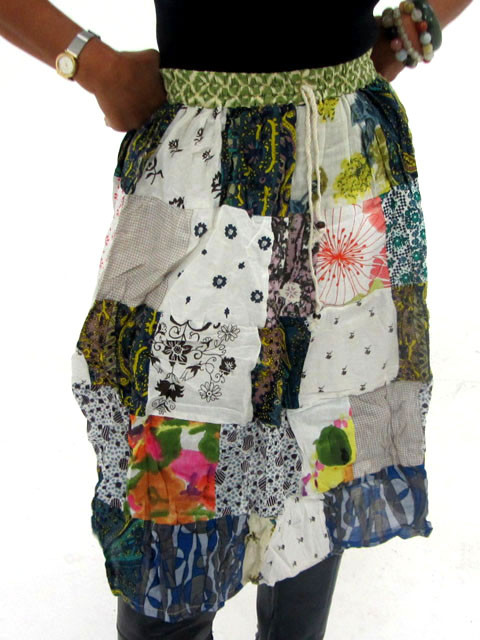 Patchwork Cotton Mid Length Skirt  OP 31