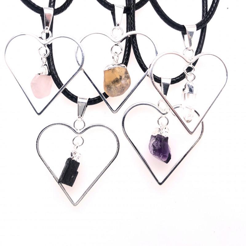 4x Heart Designs Raw Crystal, Amethyst , Citrine ,Tourm Pendants BR 2328