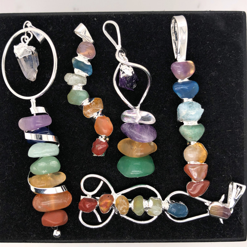 Five Charka Pendants-Seven Chakra - natural stones - BR 2340