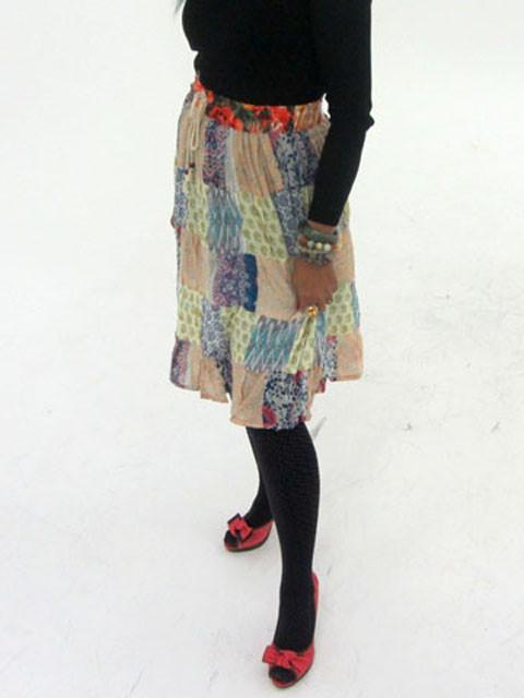 Patchwork Cotton Mid Length Skirt  OP 34