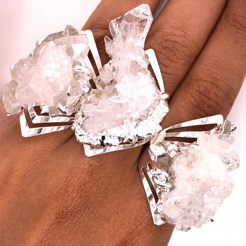 3 x Raw High Grade Druzy Gemstone Silver Ring - BR 1271