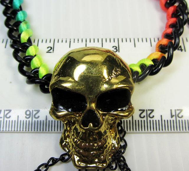 WILD COLORFUL SKULL   STYLE  NECKLACE    QT 294