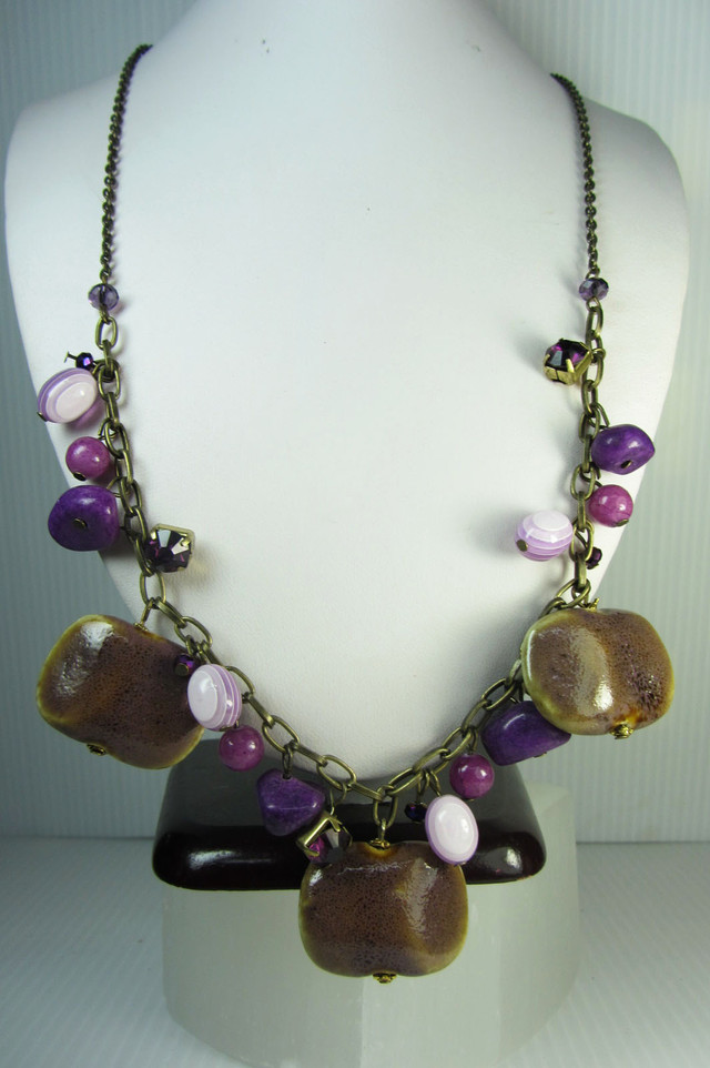 PURPLE HUESBEAD FASHION  STYLE  NECKLACE    QT 312