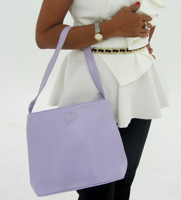 Gemstone Leather Like Purple Shoulder Bag OP 41