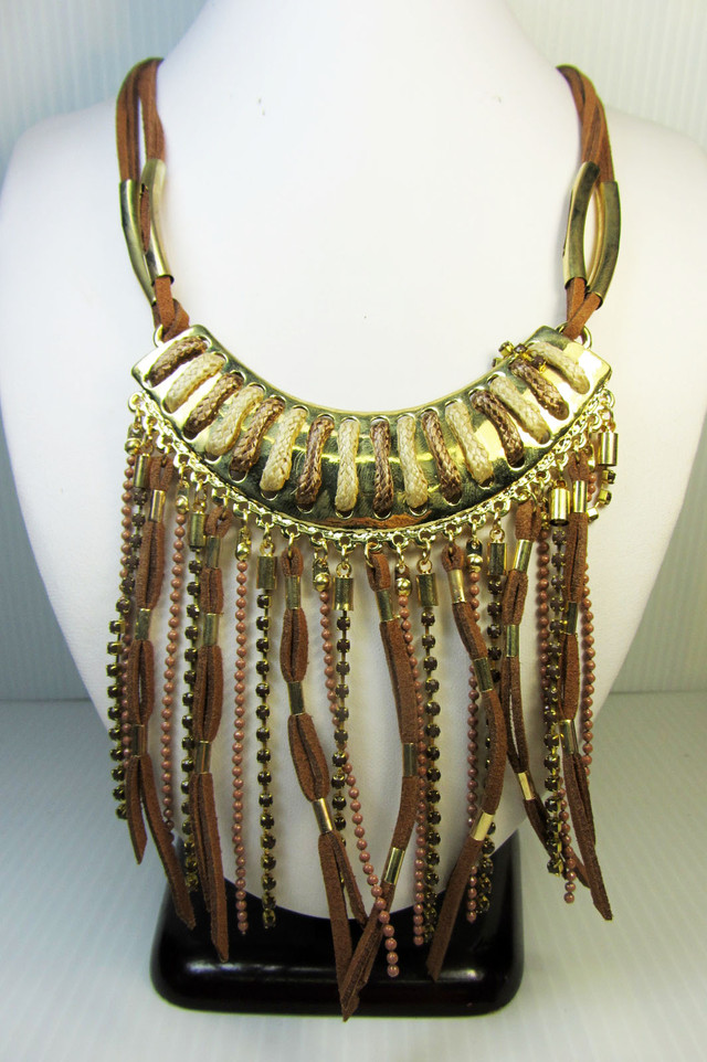 GOLD BROWN HUES FASHION  STYLE  NECKLACE    QT 317