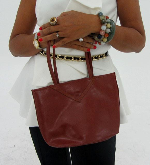 Gemstone Leather Like Brown Shoulder Bag OP 42