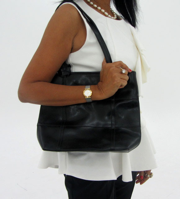 Gemstone Leather Like Black Shoulder Bag OP 44