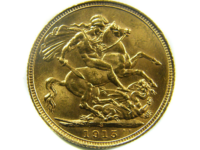 1915 UNCIRCULATED KING GEORGE SOVEREIGN B.P CO 467