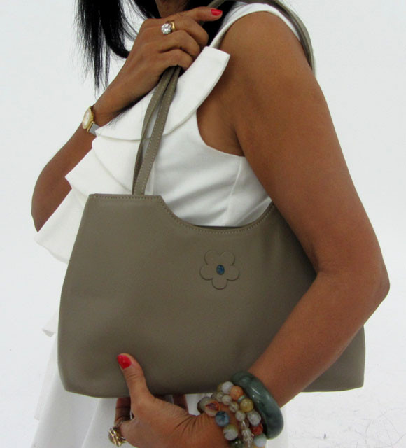 Gemstone Leather Like Grey Shoulder Bag OP 45