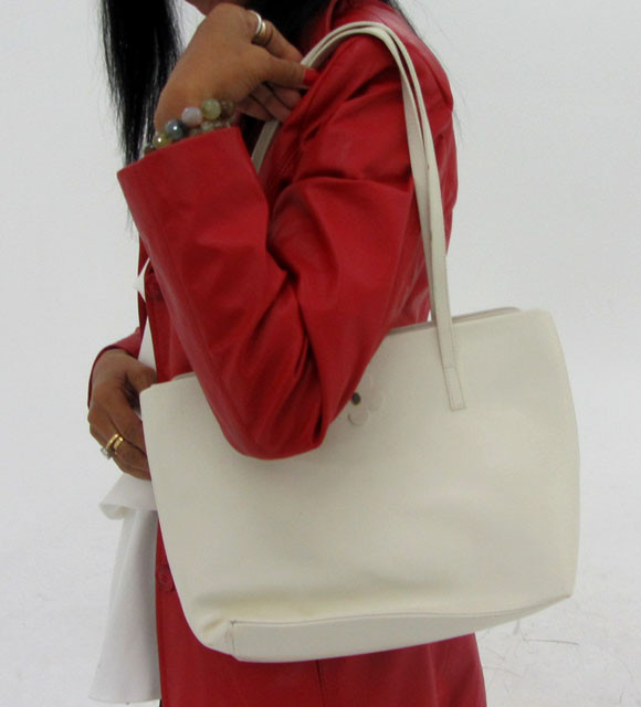 Gemstone Leather Like White Shoulder Bag OP 46
