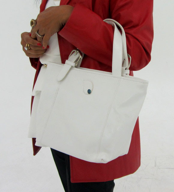 Gemstone Leather Like White  Shoulder Bag OP 47