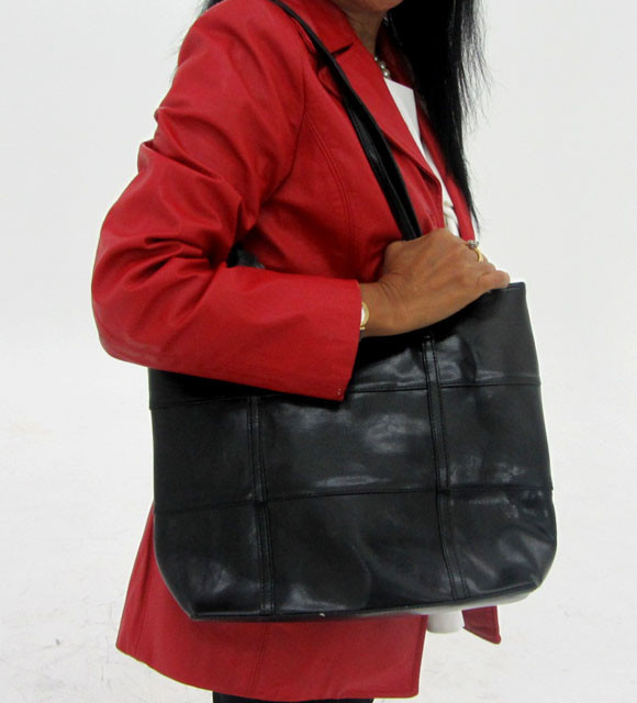 Gemstone Leather Like Black Shoulder Bag OP 48