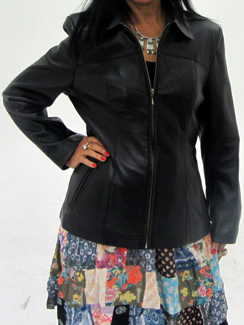 Size M Quality New Black Lamb Leather jacket  OP12