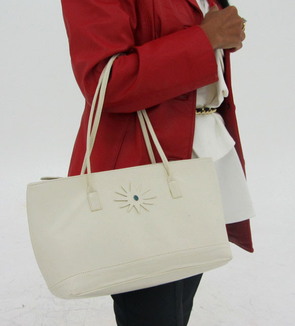 Gemstone Leather Like White Shoulder Bag OP 49