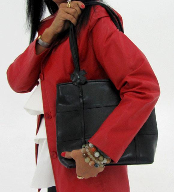 Gemstone Leather Like Black Shoulder Bag OP 50
