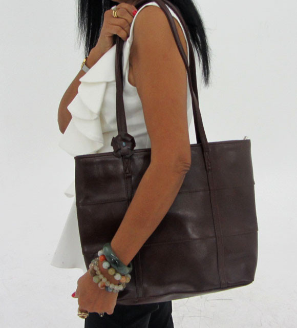 Gemstone Leather Like Brown Shoulder Bag OP 52