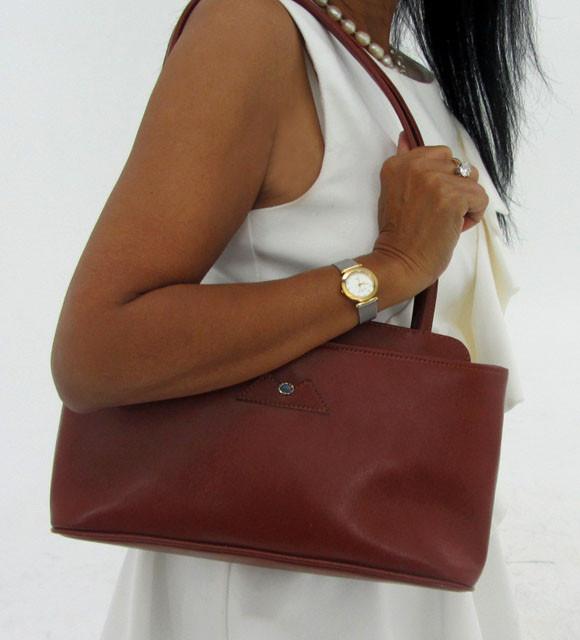 Gemstone Leather Like Brown Shoulder Bag OP 53