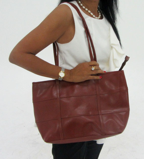 Gemstone Leather Like Brown Shoulder Bag OP 55