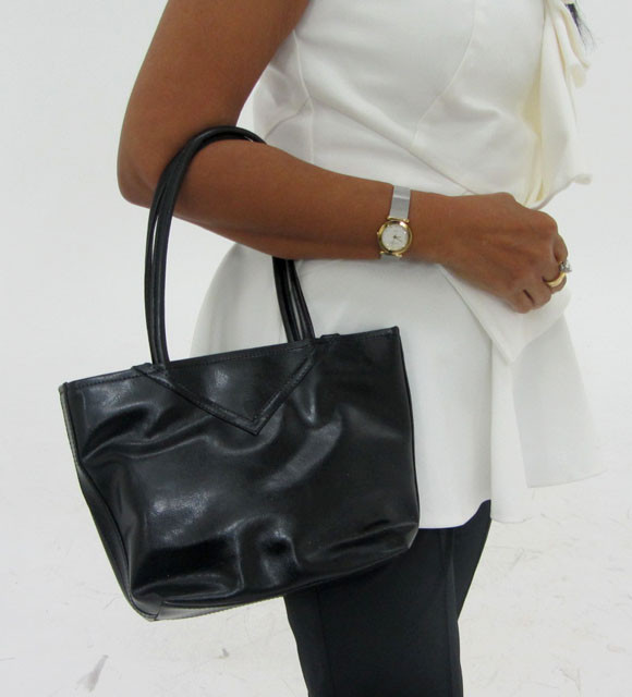 Gemstone Leather Like Black Shoulder Bag OP 56