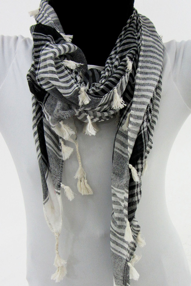 BLACK GREY  SCARF   QT 497