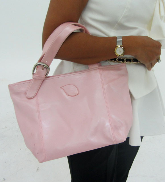 Gemstone Leather Like Pink Shoulder Bag OP 57