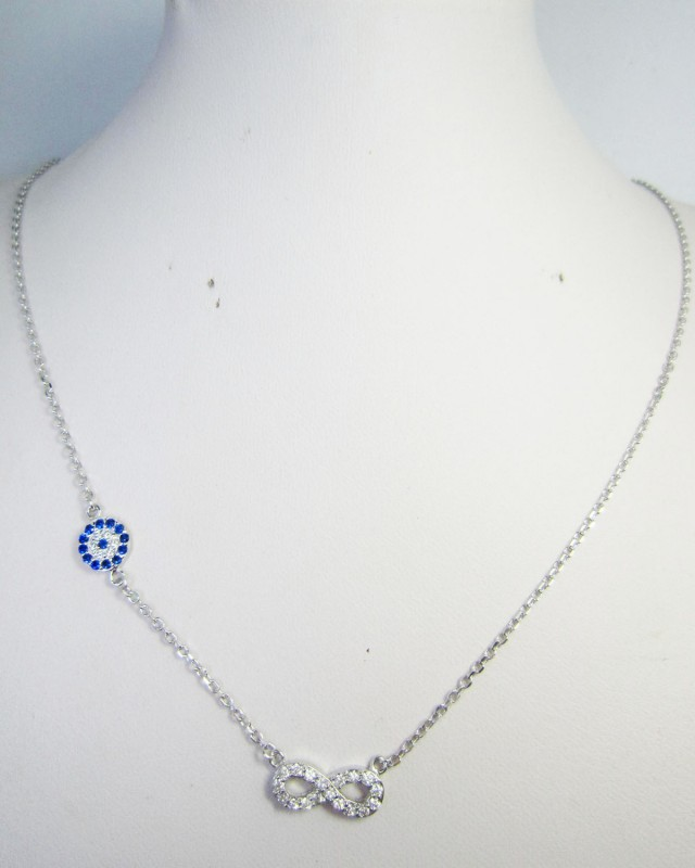 NEW DELICATE GEMSTONE  SILVER NECKLACE  QT550