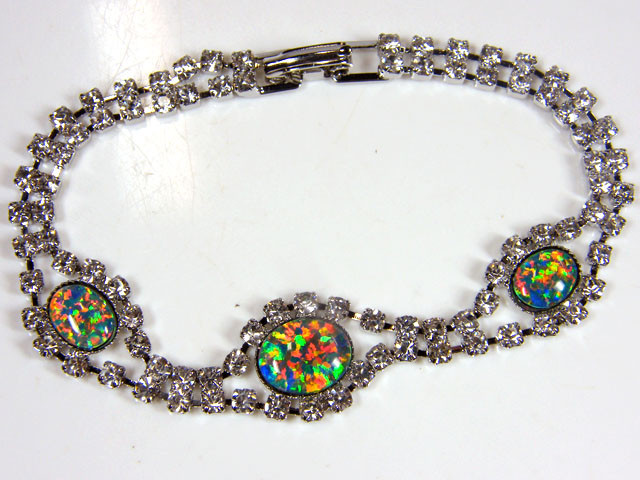 BEAUTIFUL IMO OPAL BRACELET WITH CZ  GTT 1015